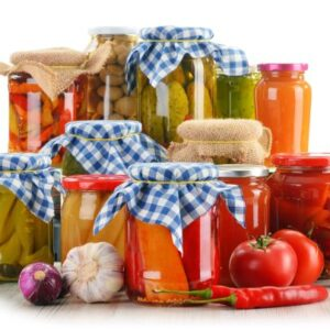 37474964 - composition with jars of pickled vegetables. marinated food.